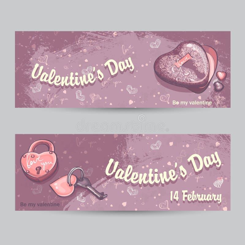 Uppsättning av horisontalhälsningkort för valentin dag med låset, stock illustrationer