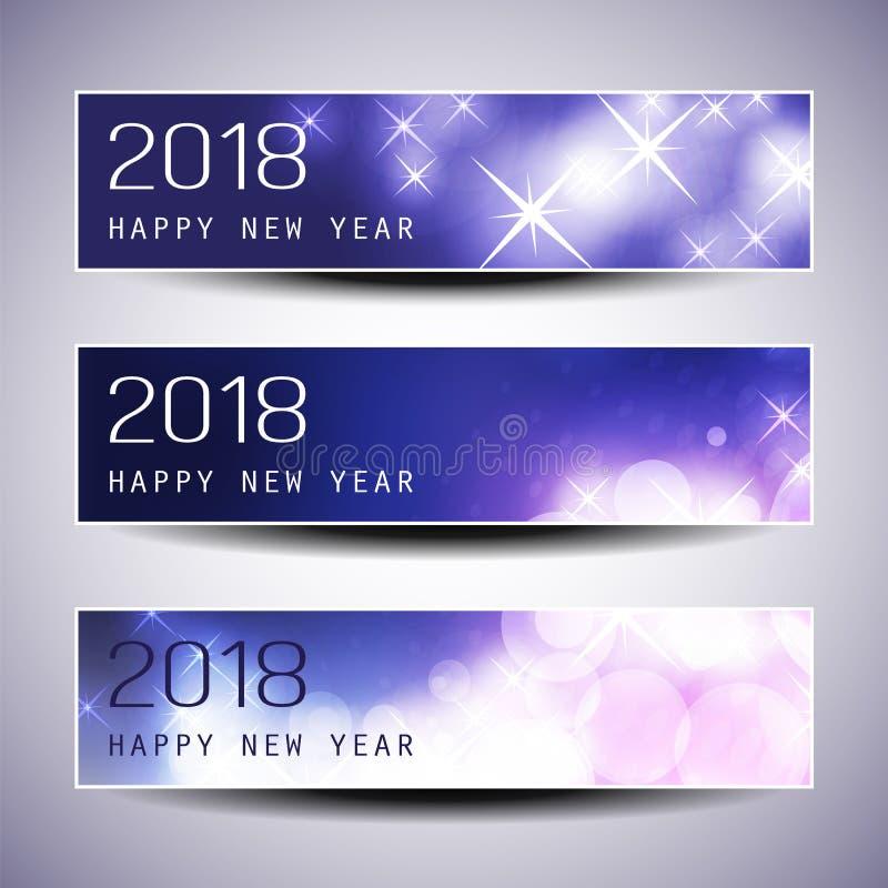 Uppsättning av horisontaljul, titelrader för nytt år eller baner - 2018 royaltyfri illustrationer