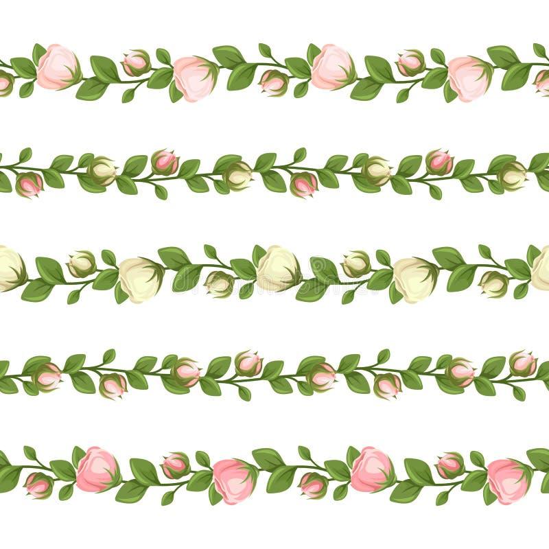 Uppsättning av horisontalsömlösa girlander med vita blommor för rosa färger och också vektor för coreldrawillustration vektor illustrationer