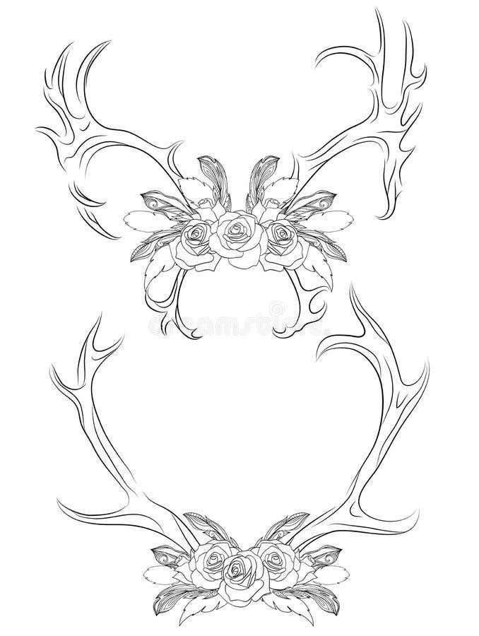 Uppsättning av horn på kronhjort för konturillustrationhjortar med rosor och fjädern stock illustrationer