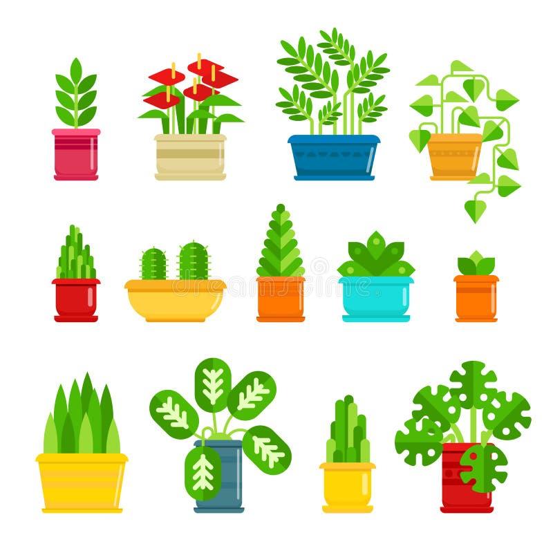Uppsättning av houseplantsvektorsymboler i plan design Olik växtsamling i blomkrukor som isoleras på vit bakgrund stock illustrationer