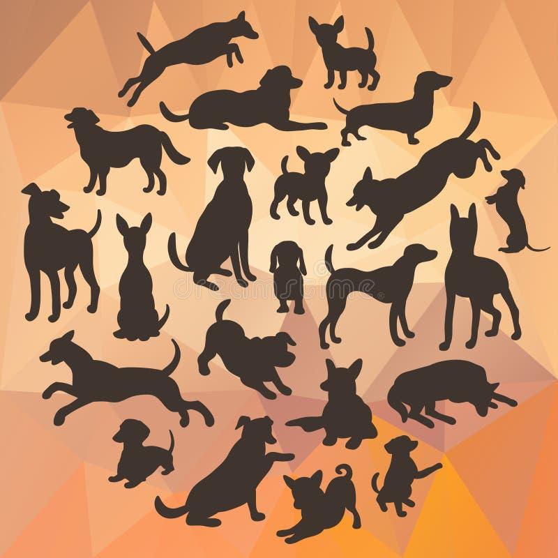 Uppsättning av hundkapplöpningkonturn på abstrakt polygonal bakgrund Samling av vektorkonturn i cirkel royaltyfri illustrationer