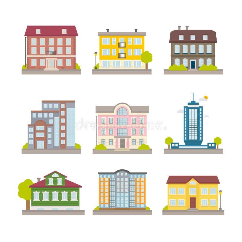 Uppsättning av hus och byggnader för stad för vektorlägenhet färgrika stock illustrationer