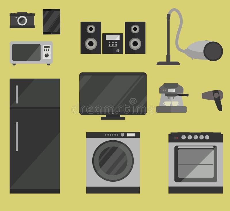 Uppsättning av hushållanordningar i plan stil arkivfoton