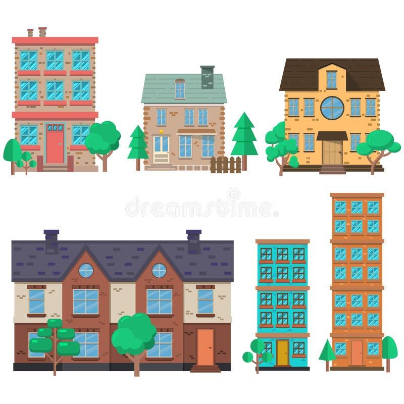 Uppsättning av husillustrationer i plan stil Planlägg beståndsdelen för affischen, banret, reklambladet, rörelsedesignen, webbsid stock illustrationer
