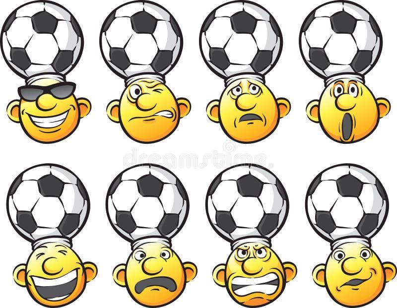 Uppsättning av huvud för sinnesrörelsefotbollfan vektor illustrationer