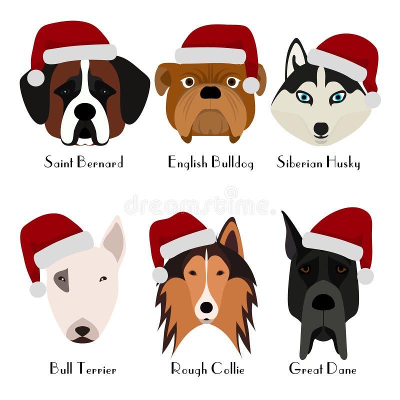 Uppsättning av huvudet för ` s för 6 hund Plan design husdjur Gulliga vovvar Symbol eller logo huvudet för uppnosiga gulliga hund royaltyfri illustrationer