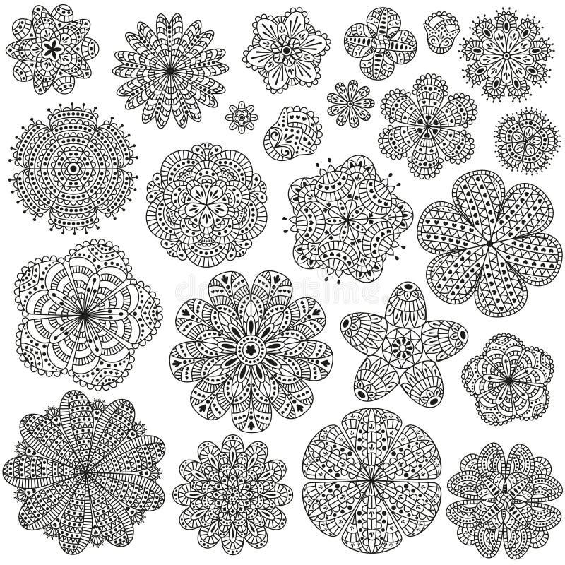 Uppsättning av idérika blommor för din design Romantiska blom- modeller Svartvita färger stock illustrationer