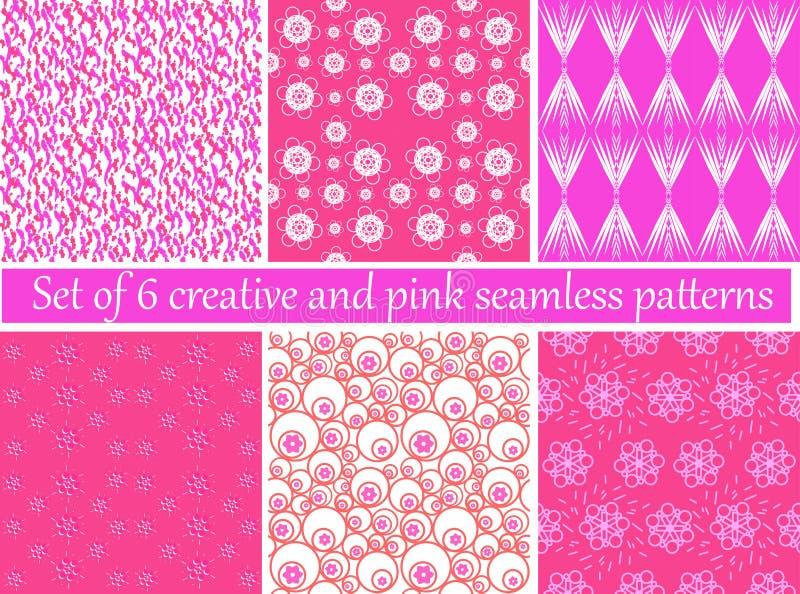 Uppsättning av idérika 6 och rosa sömlösa modeller stock illustrationer