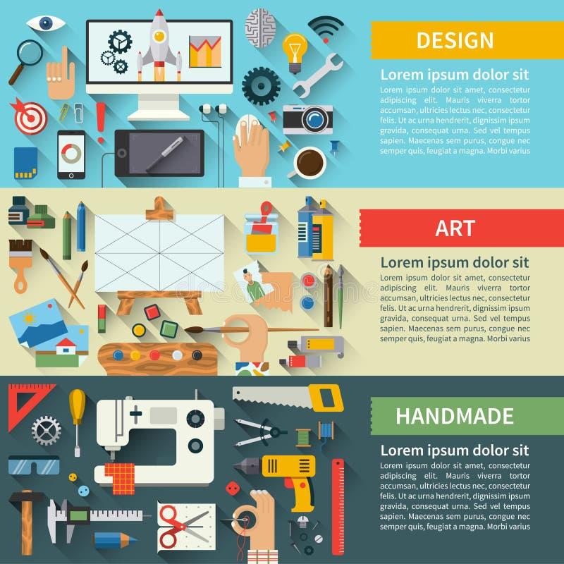 Uppsättning av idérika processbegrepp för plan design vektor illustrationer