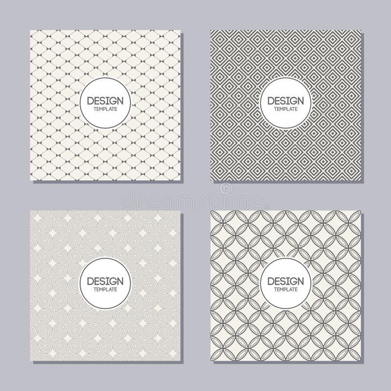 Uppsättning av 4 idérika räkningar Abstrakta geometriska sömlösa modeller stock illustrationer