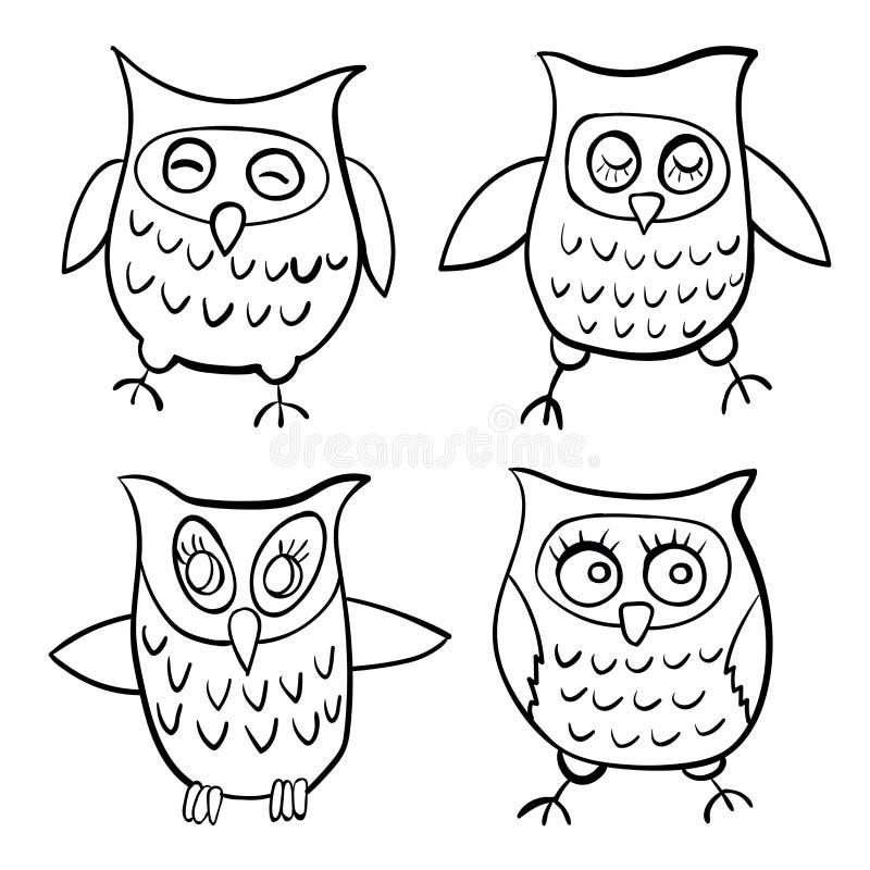 Uppsättning av illustrationen för klotter för kontur för fyra teckenugglabarn royaltyfri illustrationer