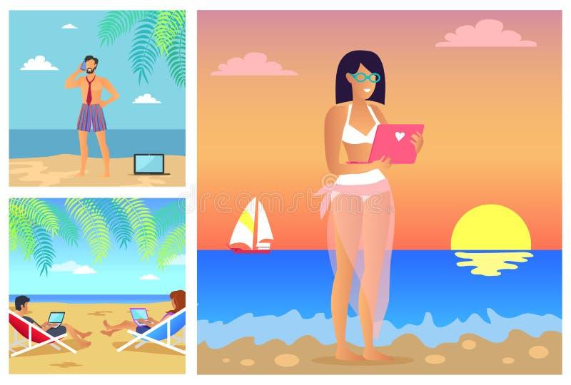 Uppsättning av illustrationen för vektor för sommarTid baner royaltyfri illustrationer