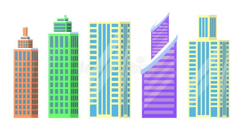 Uppsättning av illustrationen för vektor för stadsbyggnadssymboler stock illustrationer