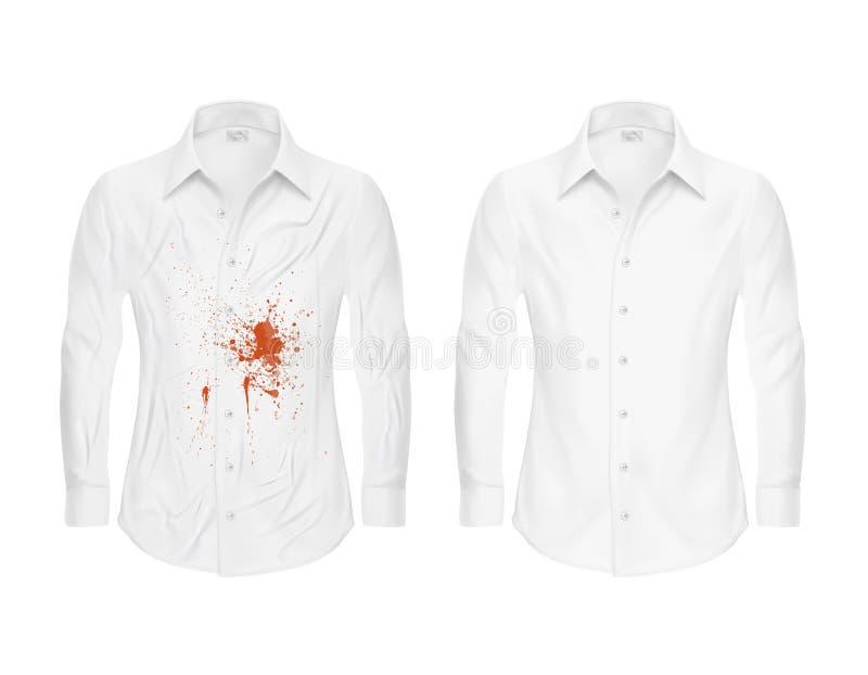 Uppsättning av illustrationer av en vit skjorta med en röd fläck och rengöring, före och efter ettrengöringsmedel royaltyfri illustrationer