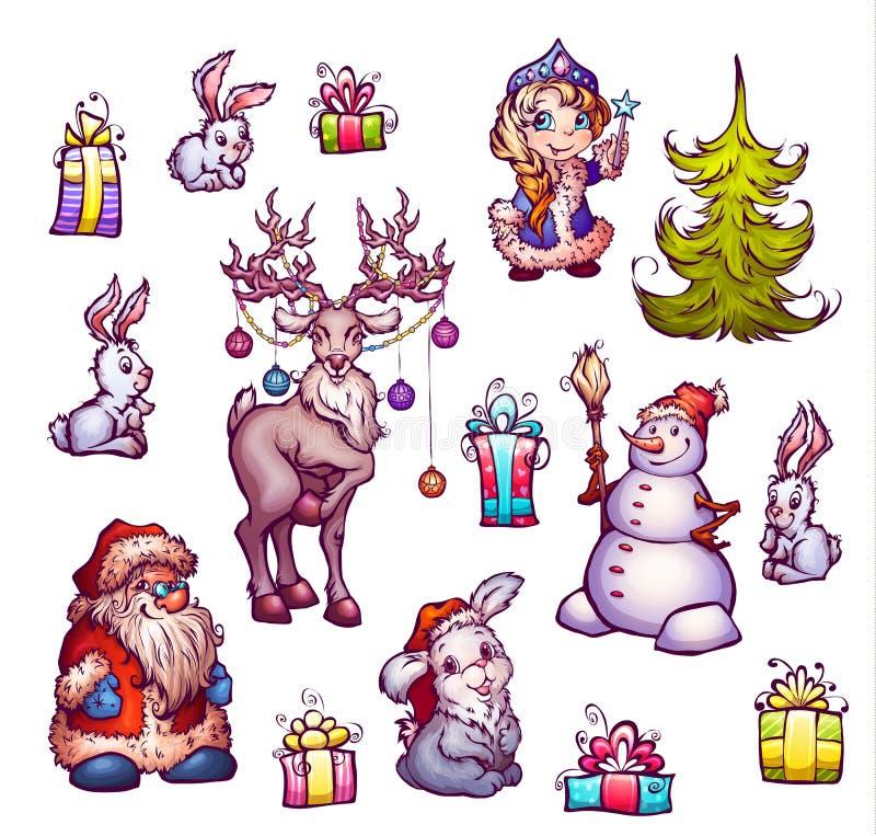 Uppsättning av illustrationer för nytt år glad jul vektor illustrationer