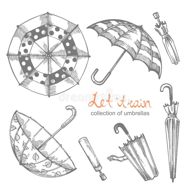 Uppsättning av illustrationer av hand-drog paraplyer vektor illustrationer