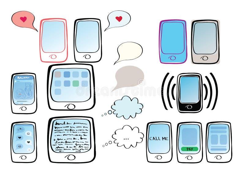 Uppsättning av illustrationer med telefoner, minnestavlor, sms och symboler royaltyfri illustrationer