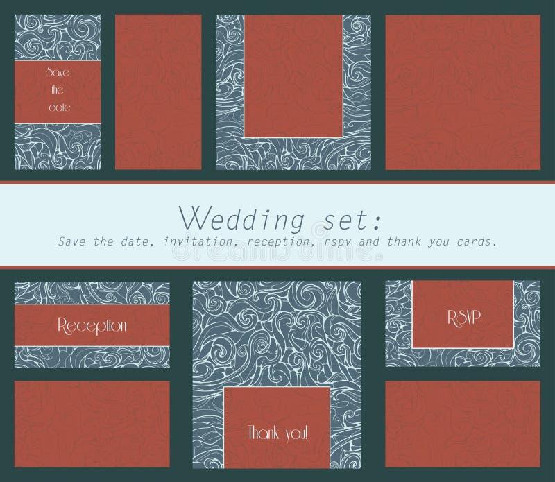 Uppsättning av inbjudan för bröllopkort, tacka dig att card, sparar datumkortet, RSVP-kort med virveln texturerade beståndsdelar vektor illustrationer
