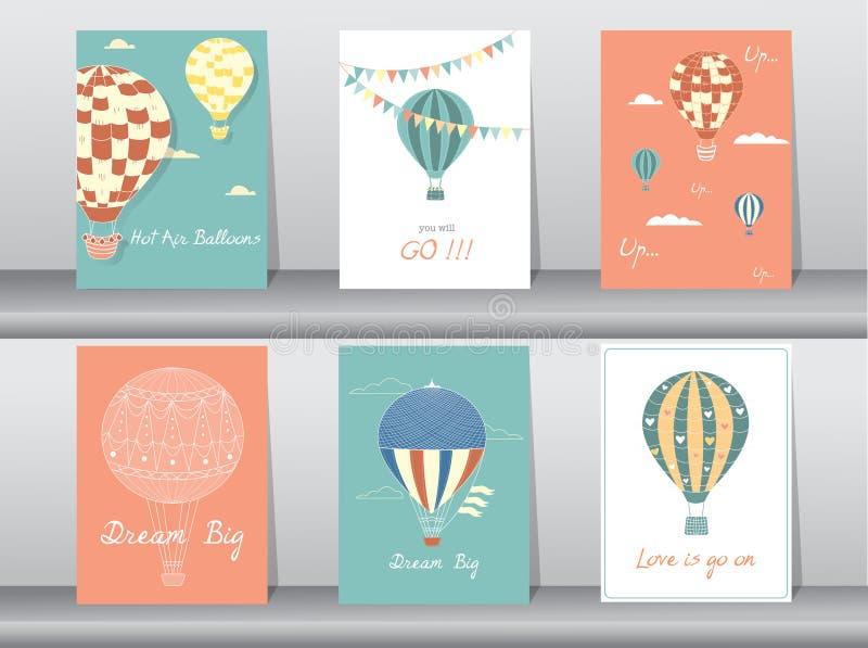Uppsättning av inbjudankort, affisch, mall, hälsningkort, ballong för varm luft, vektorillustrationer royaltyfri illustrationer