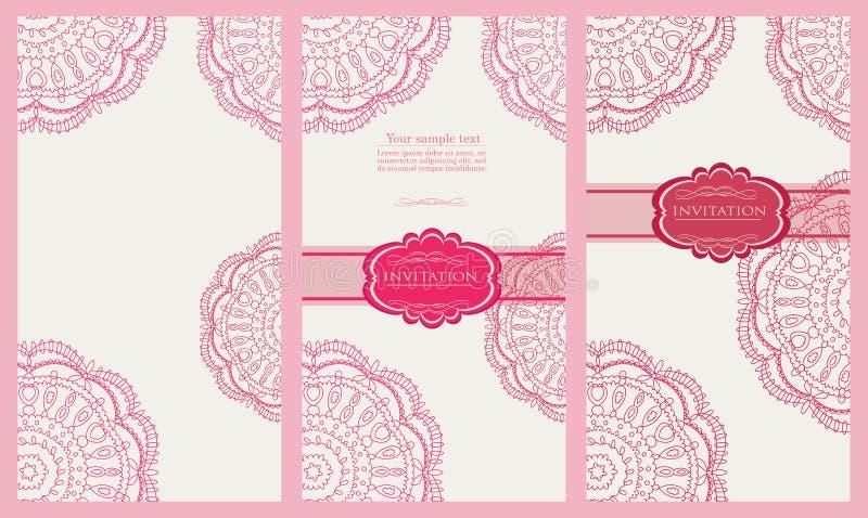 Uppsättning av inbjudankortet  royaltyfri illustrationer