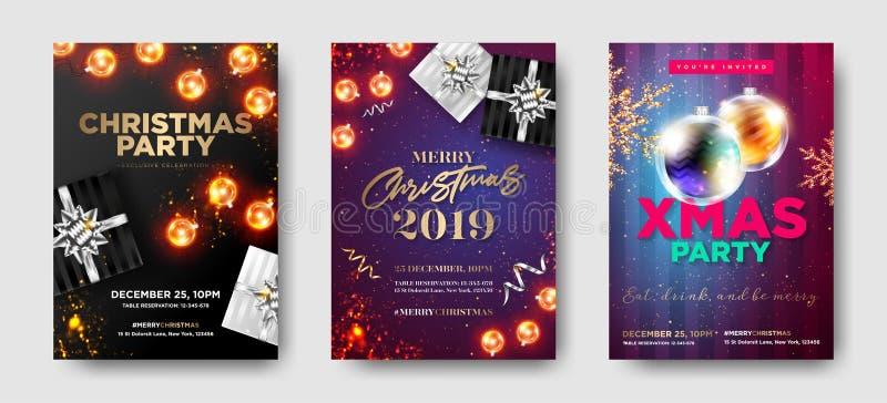 Uppsättning av inbjudningar för julparti 2019 Vintersammansättning royaltyfri illustrationer