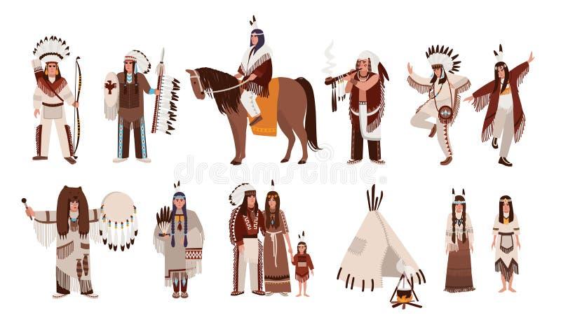 Uppsättning av indier i traditionella dräkter Familj, flicka, medicinman, folk med en pilbåge och pilar för indian, fred-rör royaltyfri illustrationer