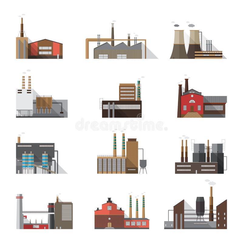 Uppsättning av industriella fabriks- och växtbyggnader Samlingsproducenter med att röka lampglas Färgrik vektor vektor illustrationer