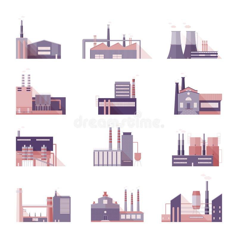 Uppsättning av industriella fabriks- och växtbyggnader Samlingsproducenter med att röka lampglas Färgrik vektor stock illustrationer