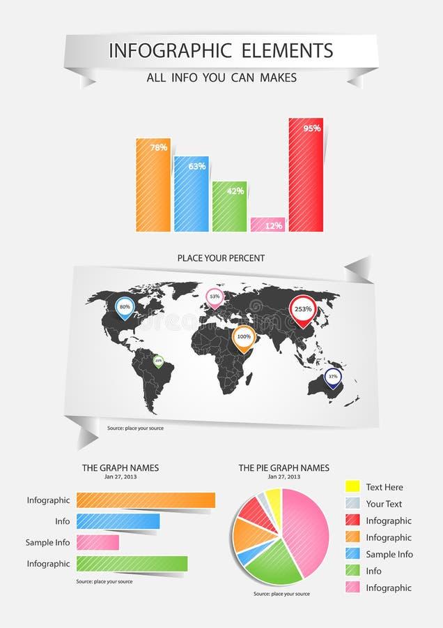 Uppsättning av Infographic beståndsdelar. vektor illustrationer