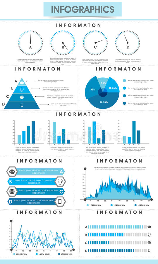 Uppsättning av infographic beståndsdelar för dina affärsrapporter royaltyfri illustrationer