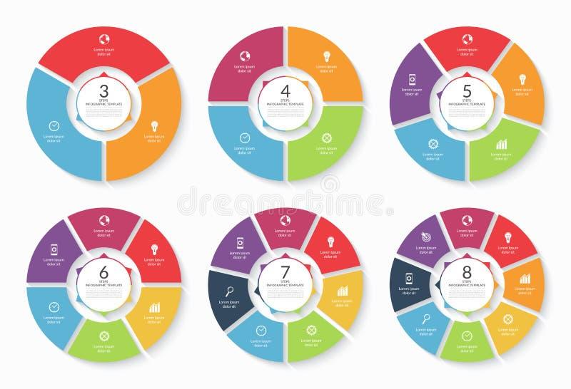 Uppsättning av infographic cirkelmallar för vektor royaltyfri illustrationer