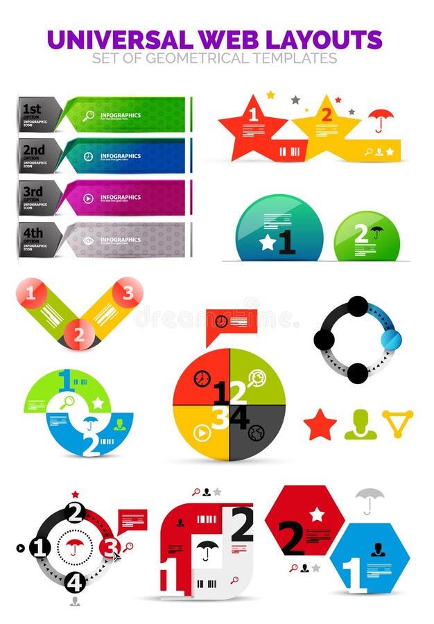 Uppsättning av infographic pappers- diagram - eller rengöringsdukasken royaltyfri illustrationer