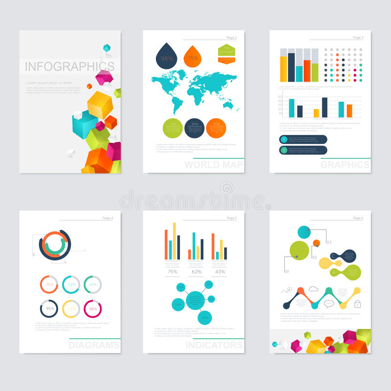 Uppsättning av infographicsbeståndsdelar i modern plan affärsstil stock illustrationer