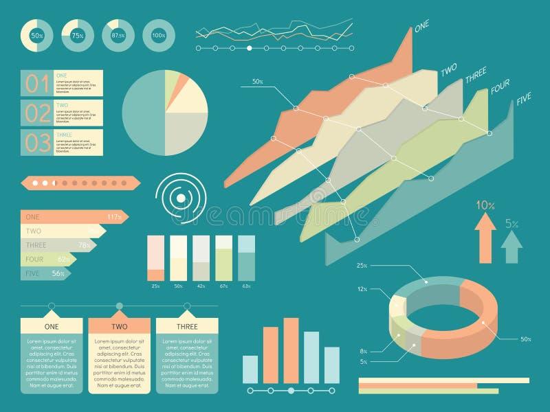 Uppsättning av infographicsbeståndsdelar Plan stilvektorillustration royaltyfri illustrationer