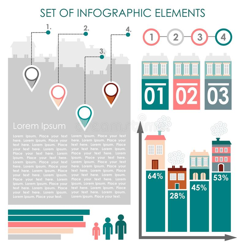 Uppsättning av infographicsen, stads- demographicsdatasymboler och beståndsdelar, illustration stock illustrationer