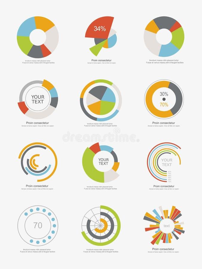 Uppsättning av information-diagram cirkeldiagram vektor illustrationer
