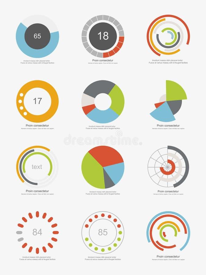 Uppsättning av information-diagram cirkeldiagram royaltyfri illustrationer