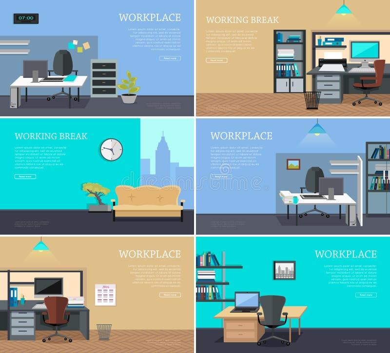 Uppsättning av inre rengöringsdukbaner för kontor i plan design vektor illustrationer