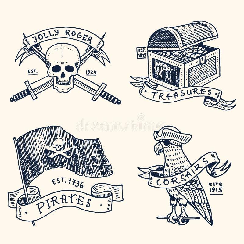 Uppsättning av inristat, hand som dras som är gammal, etiketter eller emblem för sjörövare, skalle med svärd, bröstkorg med guld, royaltyfri illustrationer