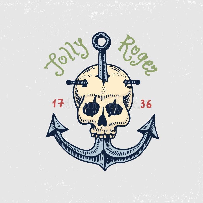 Uppsättning av inristat, hand som dras som är gammal, etiketter eller emblem för sjörövare, skalle på ankaret jolly roger Piratko royaltyfri illustrationer