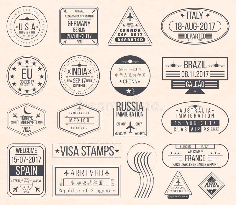 Uppsättning av internationella visumstämplar Stämplar för pass för tappningloppvisum royaltyfri illustrationer