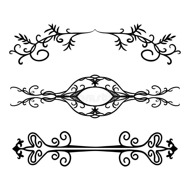 Uppsättning av invecklad designbeståndsdel s, eleganta utsmyckade text- eller avsnittavdelare, hand dragen understrykningsillustr royaltyfri illustrationer