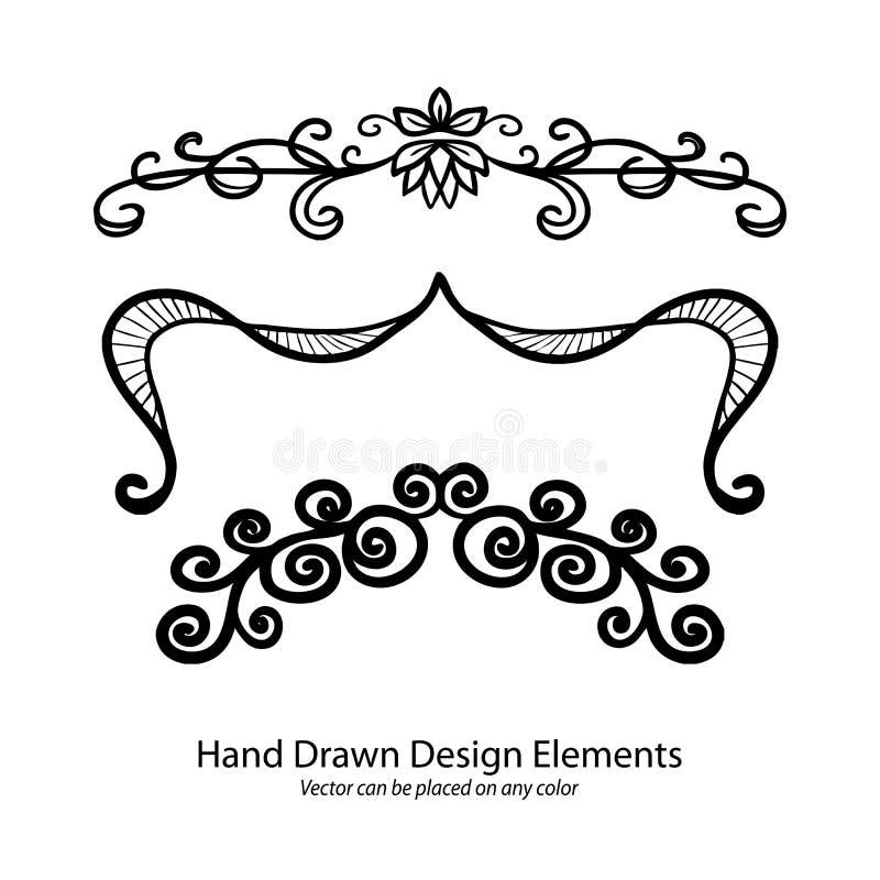 Uppsättning av invecklad designbeståndsdel s, eleganta utsmyckade text- eller avsnittavdelare, hand dragen understrykningsillustr vektor illustrationer