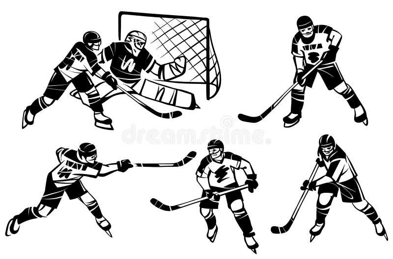 Uppsättning av ishockey och målvakten illustratören för illustrationen för handen för borstekol gör teckningen tecknade som look  stock illustrationer