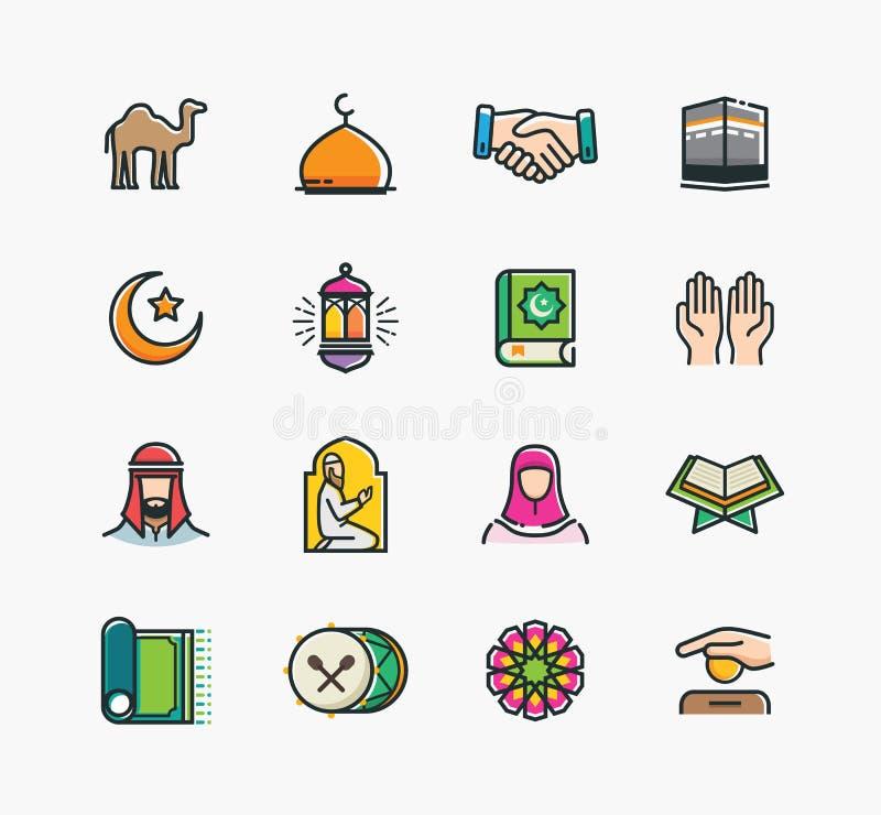 Uppsättning av islamiska symboler, Ramadan Kareem vektor illustrationer