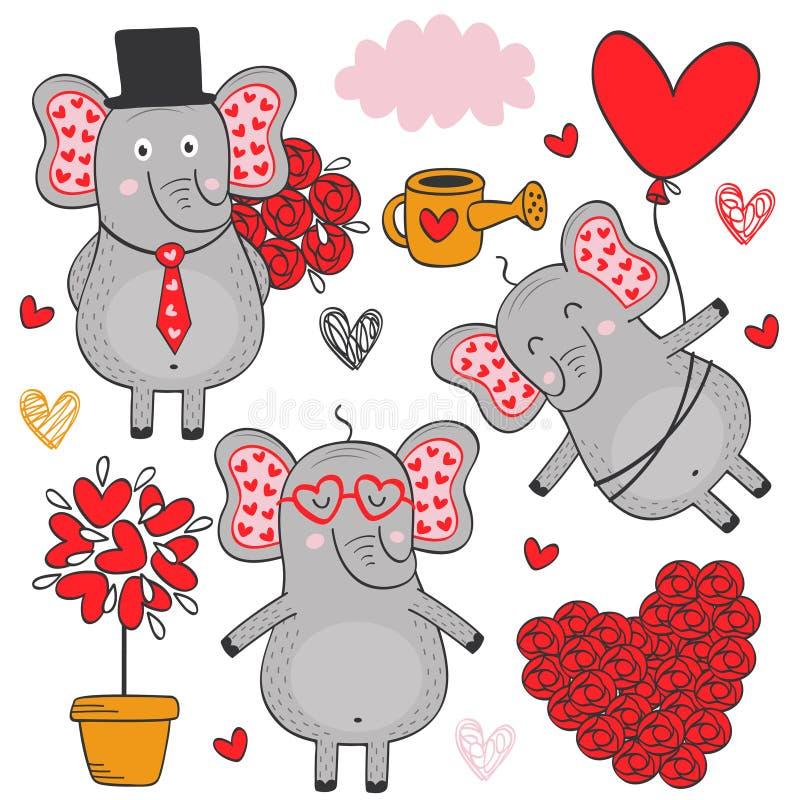 Uppsättning av isolerad förälskad del 3 för elefant royaltyfri illustrationer