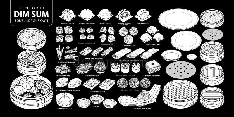 Uppsättning av isolerad kinesisk mat för vit kontur, Dim Sum för byggande dina egna Gullig hand dragen matvektorillustration i de stock illustrationer
