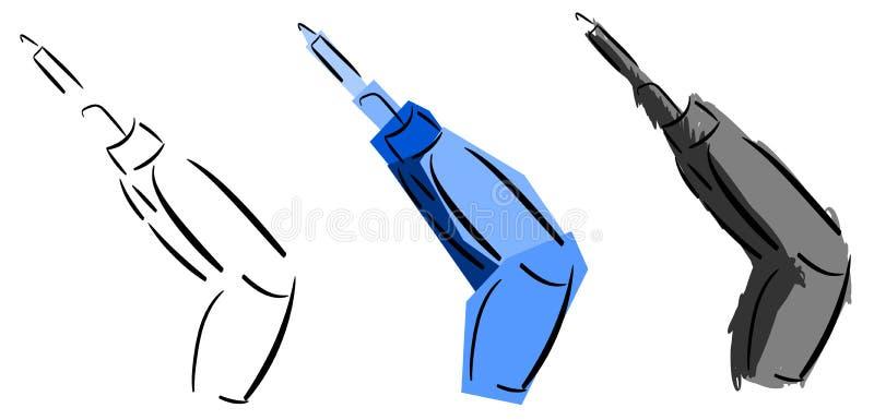 Uppsättning av isolerad stiliserad elektrisk skruvmejsel vektor illustrationer