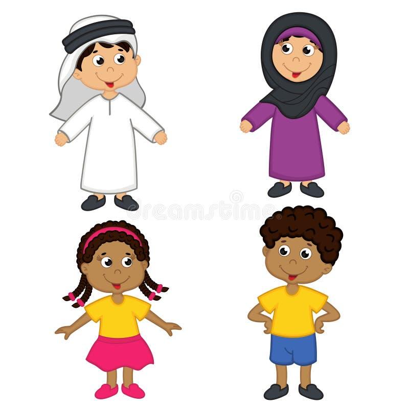 Uppsättning av isolerade barn av muslim- och afrikansk amerikannationaliteter